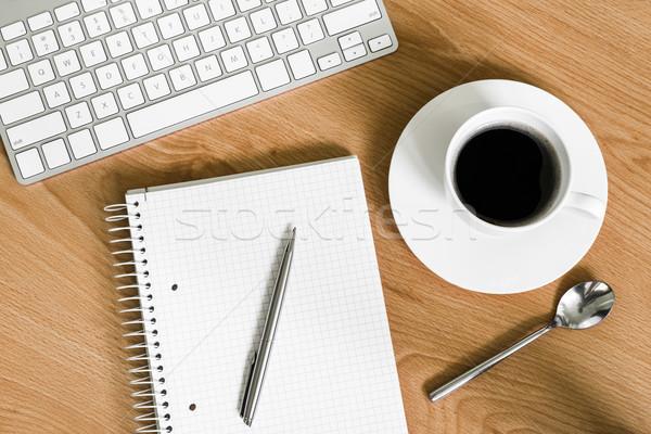 Haut vue notepad tasse de café Photo stock © rafalstachura