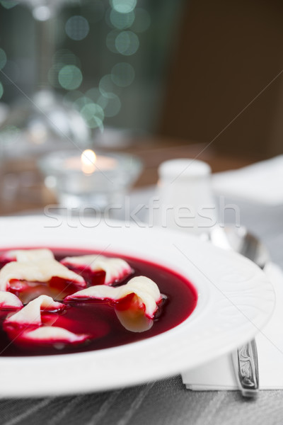 Traditional Polish beetroot soup with dumplings (red borsch) Stock photo © rafalstachura