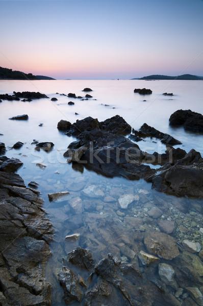 Naplemente Horvátország tenger kilátás átlátszó víz Stock fotó © rafalstachura