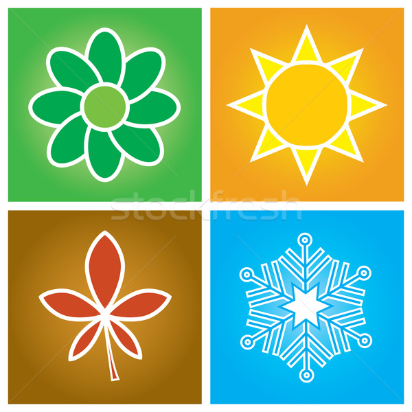 Négy évszak egyszerű szimbólumok négy évszak tavasz Stock fotó © rafalstachura