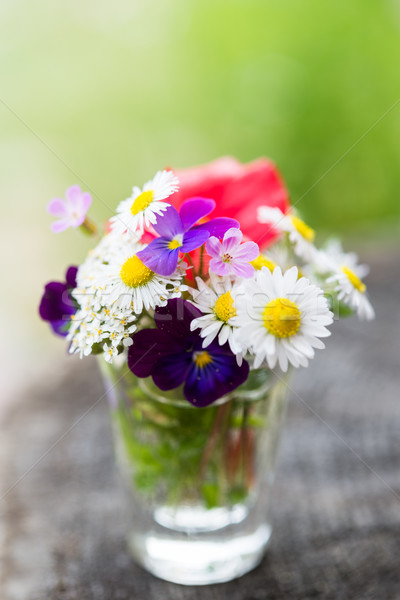 Bouquet of colourful garden flowers in a glass on old tree trunk Stock photo © rafalstachura