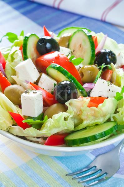 Grego salada preto verde azeitonas Foto stock © rafalstachura