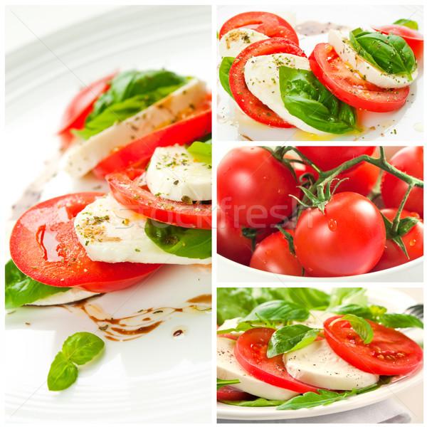 Капрезе коллаж четыре салат Капрезе помидоров Сток-фото © rafalstachura