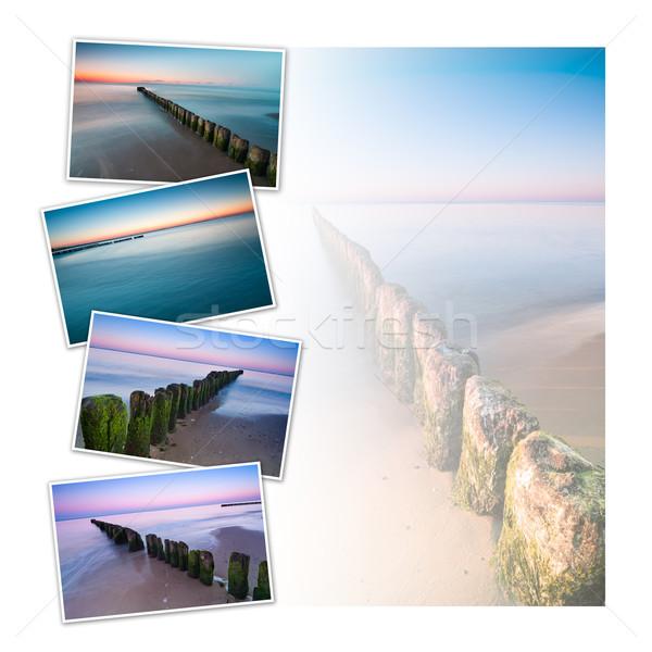 Stockfoto: Zonsondergang · zeegezicht · briefkaart · collage · ontwerp · vier