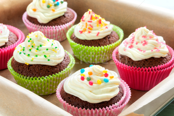 Colourful Chocolate Cupcakes Stock photo © rafalstachura