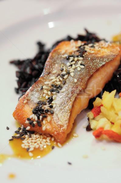 Grillés saumon filet ananas alimentaire Photo stock © rafalstachura