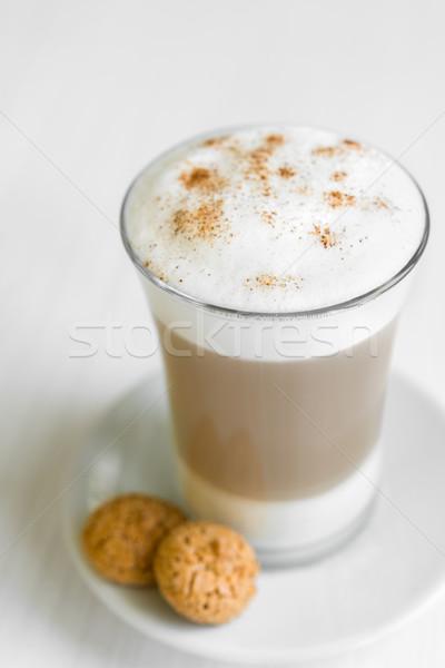 Glas cafe heerlijk witte plaat tabel Stockfoto © rafalstachura