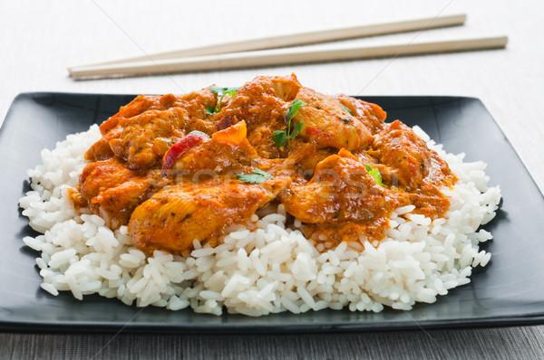 Caril de frango arroz carne preto branco Foto stock © rafalstachura