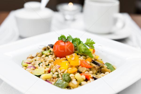 Perla cebada hortalizas cuadrados placa cocido Foto stock © rafalstachura
