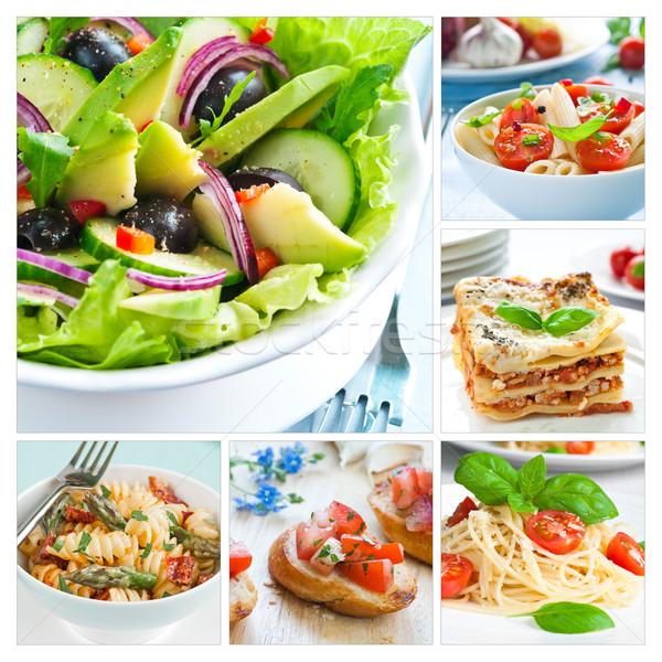ストックフォト: 地中海料理 · コラージュ · ブルスケッタ · ラザニア · パスタ · トマト