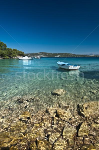 Bateau eau transparent montagnes ciel nature Photo stock © rafalstachura