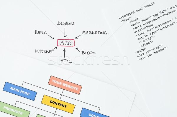 Photo stock: Seo · planification · écrit · diagramme · html