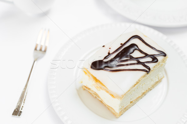 Сток-фото: кремом · пирог · белый · пластина · шоколадом