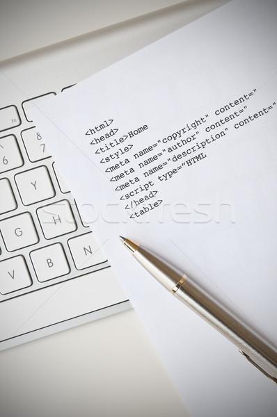 Html programação escrita computador caneta Foto stock © rafalstachura