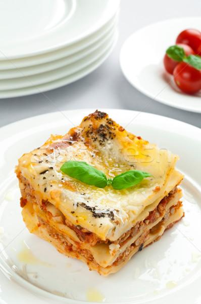 Lasaña porción carne cena pasta Foto stock © rafalstachura
