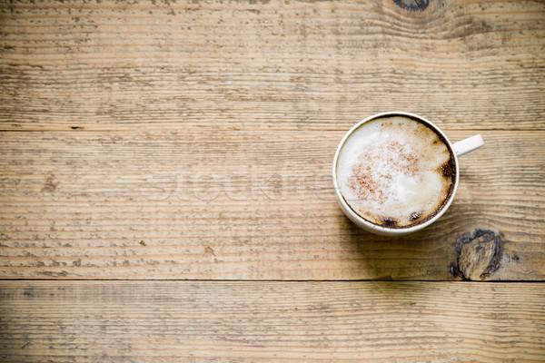 Кубок кафе капучино деревянный стол Top мнение Сток-фото © rafalstachura