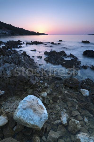 Coucher du soleil Croatie mer vue transparent eau Photo stock © rafalstachura