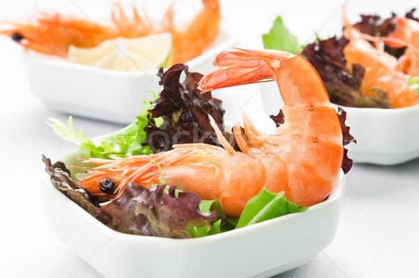 Crevettes salade laitue chaux alimentaire vert Photo stock © rafalstachura