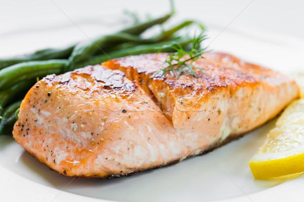 Grilled Salmon with Green Beans Stock photo © rafalstachura