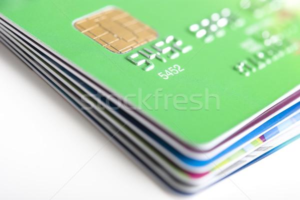 Cartões de crédito raso verde cartão Foto stock © rafalstachura