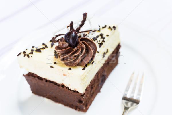Stuk zwarte bos cake Stockfoto © rafalstachura