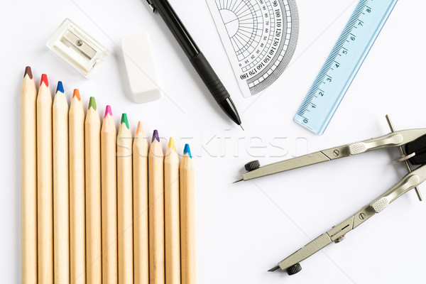 Escolas equipamentos de escritório conjunto branco topo Foto stock © rafalstachura