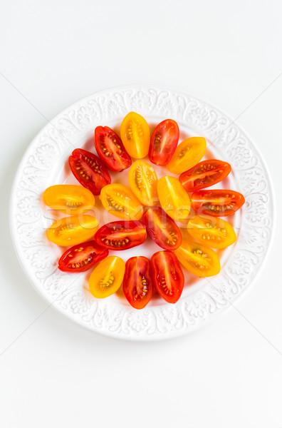 Tomates cerises blanche plaque rouge jaune fond Photo stock © rafalstachura