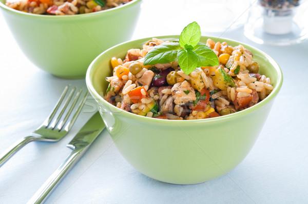 Foto stock: Risotto · frango · legumes · tigela · verde · jantar