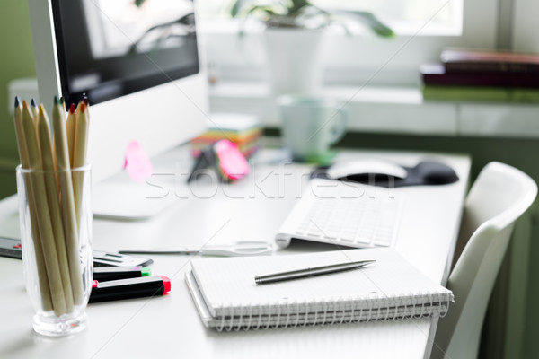 служба месте компьютер белый таблице Сток-фото © rafalstachura