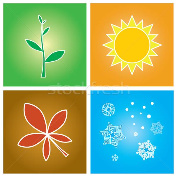 Cztery pory roku proste symbolika cztery sezon wiosną Zdjęcia stock © rafalstachura