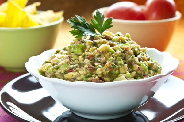 Salade blanche bol persil haut alimentaire Photo stock © rafalstachura