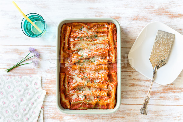 Cannelloni with spinach and ricotta top view Stock photo © rafalstachura