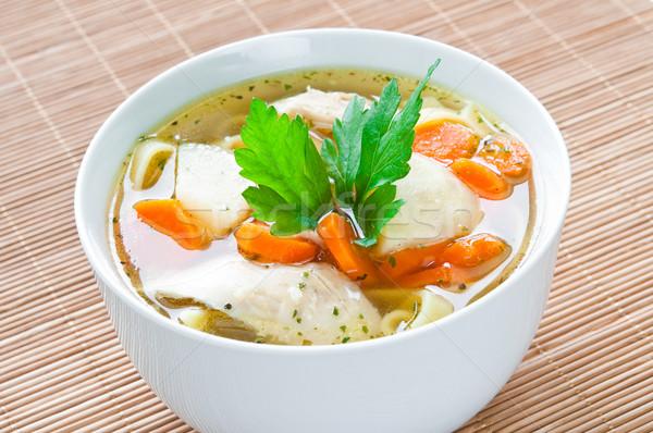 Brodo di pollo ciotola verdura cena rosso Foto d'archivio © rafalstachura