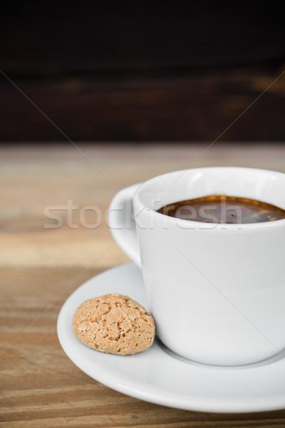 Espresso koffie beker oude rustiek houten tafel Stockfoto © rafalstachura