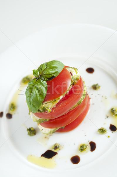 Mozzarella paradicsom bazsalikom fedett pisztácia pesztó Stock fotó © rafalstachura