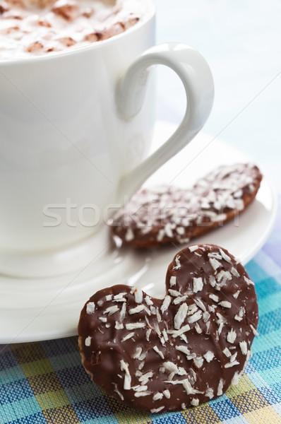 Café cookie tasse coeur chocolat Photo stock © rafalstachura