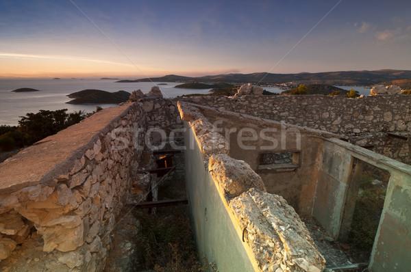 Stock photo: Sunset over Croatia coast