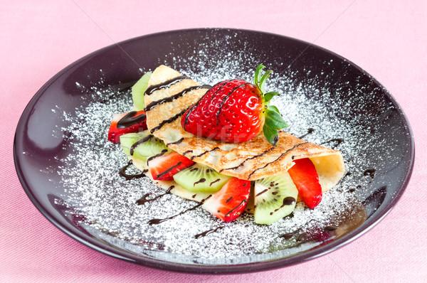 Pannenkoek vruchten aardbeien kiwi voedsel Stockfoto © rafalstachura