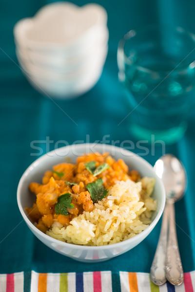 Calabaza curry arroz cocina india primer plano tradicional Foto stock © rafalstachura