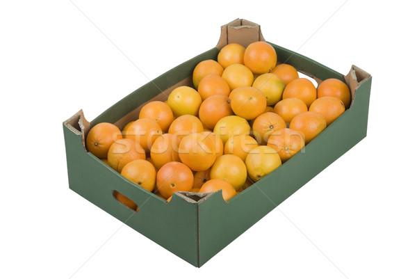 Boîte oranges fraîches isolé blanche fruits Photo stock © rafalstachura
