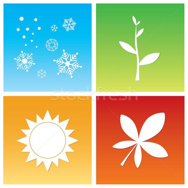 Eenvoudige symbolen vier seizoen voorjaar Stockfoto © rafalstachura