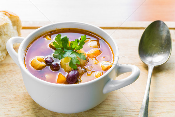 Soupe bol fraîches persil baguette argent Photo stock © rafalstachura