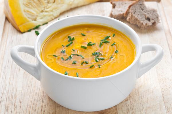 Сток-фото: тыква · суп · белый · чаши · таблице · хлеб