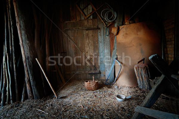 старые сарай инструменты оборудование древесины комнату Сток-фото © rafalstachura
