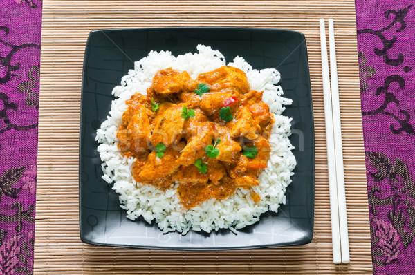 Caril de frango arroz vermelho carne preto Foto stock © rafalstachura