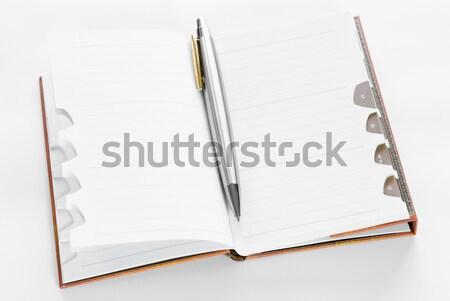 Photo stock: Notepad · ouvrir · école · stylo · espace · écrit
