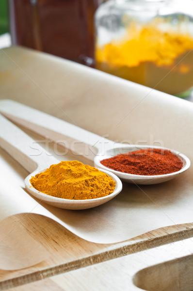 épices étriller poudre rouge chili bois Photo stock © rafalstachura