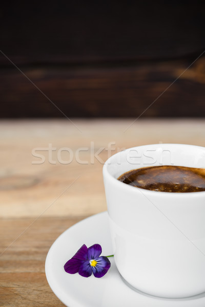 Café expresso café branco copo mesa de madeira flor Foto stock © rafalstachura