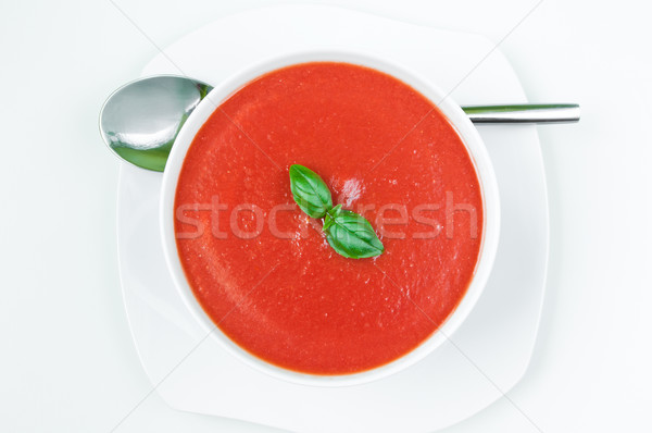 Photo stock: Soupe · à · la · tomate · fraîches · basilic · bol · alimentaire · feuille