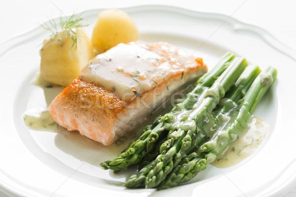 Сток-фото: гриль · лосося · картофель · спаржа · белый